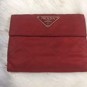 💯 auth. Prada red nylon 4 x 4 wallet snap front